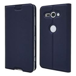 Ultra Slim Card Magnetic Automatic Suction Leather Wallet Case for Sony Xperia XZ2 Compact - Royal Blue