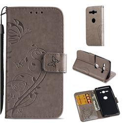 Embossing Butterfly Flower Leather Wallet Case for Sony Xperia XZ2 Compact - Grey