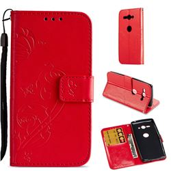 Embossing Butterfly Flower Leather Wallet Case for Sony Xperia XZ2 Compact - Red
