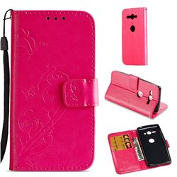 Embossing Butterfly Flower Leather Wallet Case for Sony Xperia XZ2 Compact - Rose
