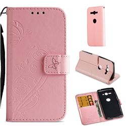 Embossing Butterfly Flower Leather Wallet Case for Sony Xperia XZ2 Compact - Pink