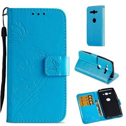 Embossing Butterfly Flower Leather Wallet Case for Sony Xperia XZ2 Compact - Blue