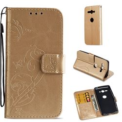 Embossing Butterfly Flower Leather Wallet Case for Sony Xperia XZ2 Compact - Champagne
