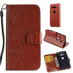 Embossing Butterfly Flower Leather Wallet Case for Sony Xperia XZ2 Compact - Brown