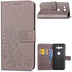 Embossing Imprint Four-Leaf Clover Leather Wallet Case for Sony Xperia XZ2 Compact - Grey