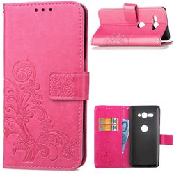 Embossing Imprint Four-Leaf Clover Leather Wallet Case for Sony Xperia XZ2 Compact - Rose