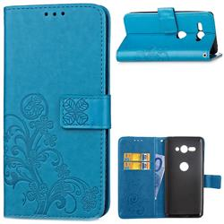 Embossing Imprint Four-Leaf Clover Leather Wallet Case for Sony Xperia XZ2 Compact - Blue