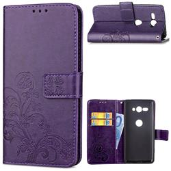 Embossing Imprint Four-Leaf Clover Leather Wallet Case for Sony Xperia XZ2 Compact - Purple
