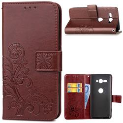 Embossing Imprint Four-Leaf Clover Leather Wallet Case for Sony Xperia XZ2 Compact - Brown