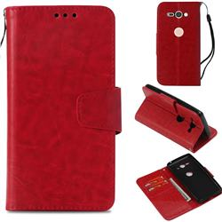 Retro Phantom Smooth PU Leather Wallet Holster Case for Sony Xperia XZ2 Compact - Red