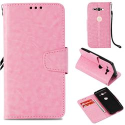 Retro Phantom Smooth PU Leather Wallet Holster Case for Sony Xperia XZ2 Compact - Pink