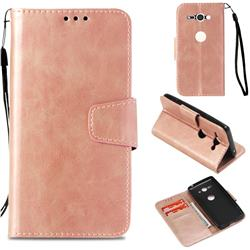 Retro Phantom Smooth PU Leather Wallet Holster Case for Sony Xperia XZ2 Compact - Rose Gold
