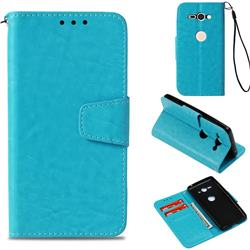 Retro Phantom Smooth PU Leather Wallet Holster Case for Sony Xperia XZ2 Compact - Sky Blue