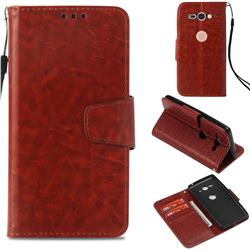 Retro Phantom Smooth PU Leather Wallet Holster Case for Sony Xperia XZ2 Compact - Brown