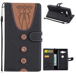Ladies Bow Clothes Pattern Leather Wallet Phone Case for Sony Xperia XZ2 Compact - Black
