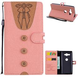 Ladies Bow Clothes Pattern Leather Wallet Phone Case for Sony Xperia XZ2 Compact - Pink