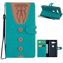 Ladies Bow Clothes Pattern Leather Wallet Phone Case for Sony Xperia XZ2 Compact - Green