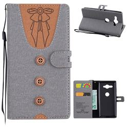Ladies Bow Clothes Pattern Leather Wallet Phone Case for Sony Xperia XZ2 Compact - Gray