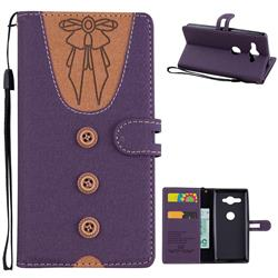 Ladies Bow Clothes Pattern Leather Wallet Phone Case for Sony Xperia XZ2 Compact - Purple