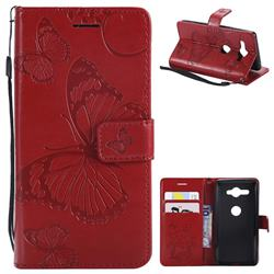 Embossing 3D Butterfly Leather Wallet Case for Sony Xperia XZ2 Compact - Red