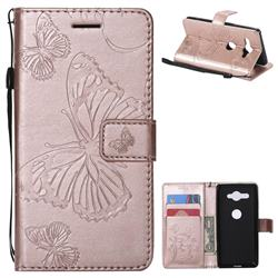 Embossing 3D Butterfly Leather Wallet Case for Sony Xperia XZ2 Compact - Rose Gold