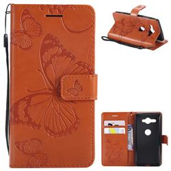 Embossing 3D Butterfly Leather Wallet Case for Sony Xperia XZ2 Compact - Orange