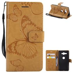 Embossing 3D Butterfly Leather Wallet Case for Sony Xperia XZ2 Compact - Yellow