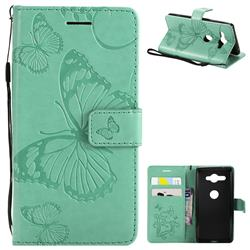 Embossing 3D Butterfly Leather Wallet Case for Sony Xperia XZ2 Compact - Green