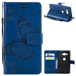 Embossing 3D Butterfly Leather Wallet Case for Sony Xperia XZ2 Compact - Blue