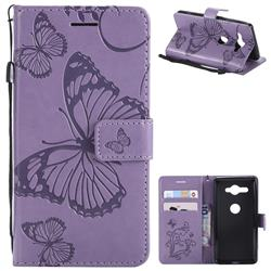 Embossing 3D Butterfly Leather Wallet Case for Sony Xperia XZ2 Compact - Purple