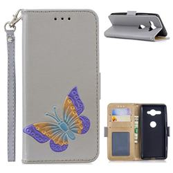 Imprint Embossing Butterfly Leather Wallet Case for Sony Xperia XZ2 Compact - Grey