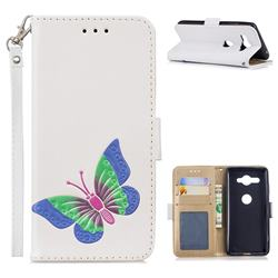 Imprint Embossing Butterfly Leather Wallet Case for Sony Xperia XZ2 Compact - White