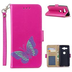 Imprint Embossing Butterfly Leather Wallet Case for Sony Xperia XZ2 Compact - Rose Red