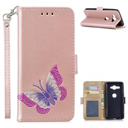 Imprint Embossing Butterfly Leather Wallet Case for Sony Xperia XZ2 Compact - Rose Gold