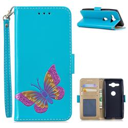 Imprint Embossing Butterfly Leather Wallet Case for Sony Xperia XZ2 Compact - Sky Blue