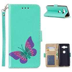 Imprint Embossing Butterfly Leather Wallet Case for Sony Xperia XZ2 Compact - Mint Green