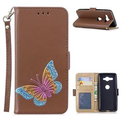 Imprint Embossing Butterfly Leather Wallet Case for Sony Xperia XZ2 Compact - Brown