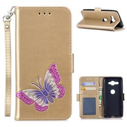 Imprint Embossing Butterfly Leather Wallet Case for Sony Xperia XZ2 Compact - Golden