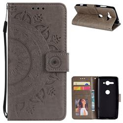 Intricate Embossing Datura Leather Wallet Case for Sony Xperia XZ2 Compact - Gray