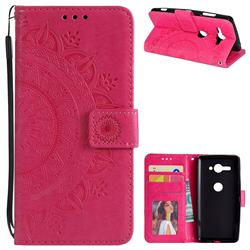 Intricate Embossing Datura Leather Wallet Case for Sony Xperia XZ2 Compact - Rose Red