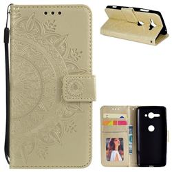 Intricate Embossing Datura Leather Wallet Case for Sony Xperia XZ2 Compact - Golden