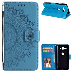 Intricate Embossing Datura Leather Wallet Case for Sony Xperia XZ2 Compact - Blue