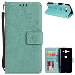 Intricate Embossing Datura Leather Wallet Case for Sony Xperia XZ2 Compact - Mint Green