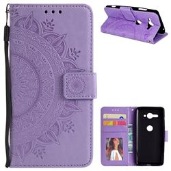 Intricate Embossing Datura Leather Wallet Case for Sony Xperia XZ2 Compact - Purple