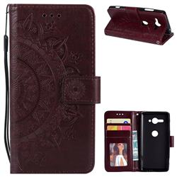 Intricate Embossing Datura Leather Wallet Case for Sony Xperia XZ2 Compact - Brown