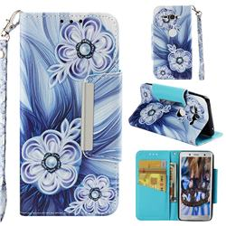 Button Flower Big Metal Buckle PU Leather Wallet Phone Case for Sony Xperia XZ2 Compact