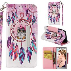 Owl Wind Chimes Big Metal Buckle PU Leather Wallet Phone Case for Sony Xperia XZ2 Compact