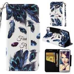Peacock Feather Big Metal Buckle PU Leather Wallet Phone Case for Sony Xperia XZ2 Compact