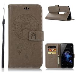 Intricate Embossing Owl Campanula Leather Wallet Case for Sony Xperia XZ2 Premium - Grey