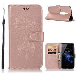 Intricate Embossing Owl Campanula Leather Wallet Case for Sony Xperia XZ2 Premium - Rose Gold